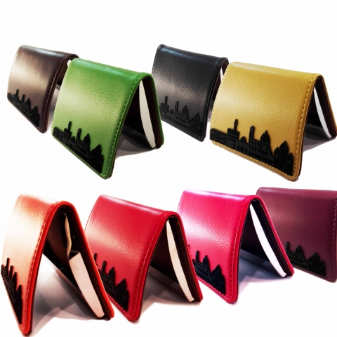 "card holder genuine leather My Travels, ""Florence skyline"" decoration"