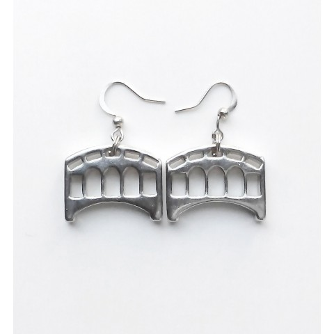Florence,Pair of earrings small Old Bridge, galvanized/drilled